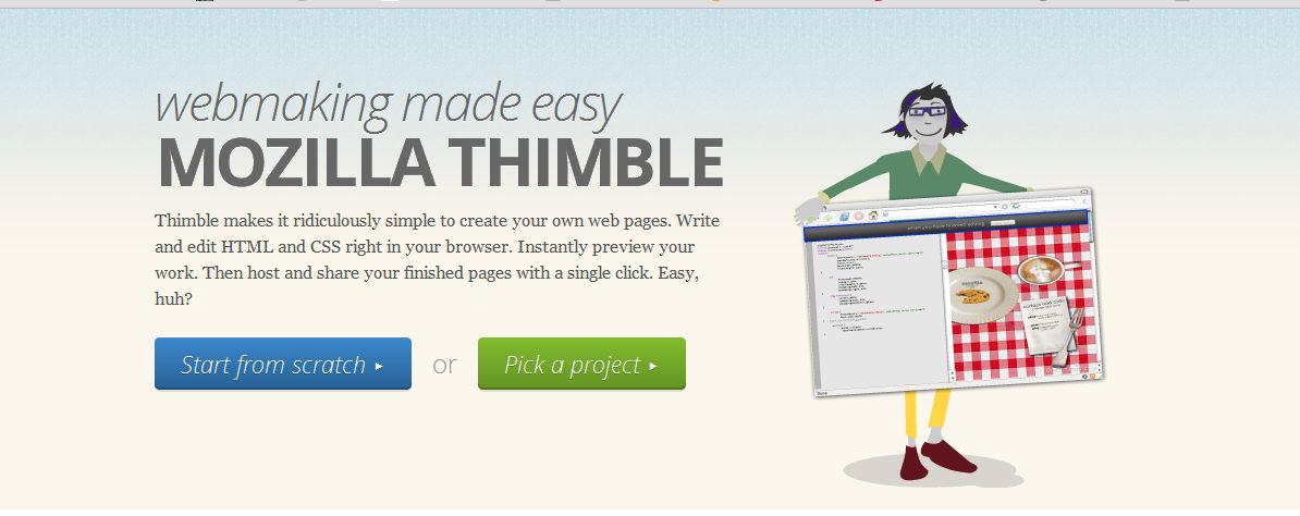 Strona główna edytora Thimble
