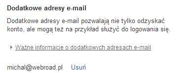 Dodatkowy adres email w Google+