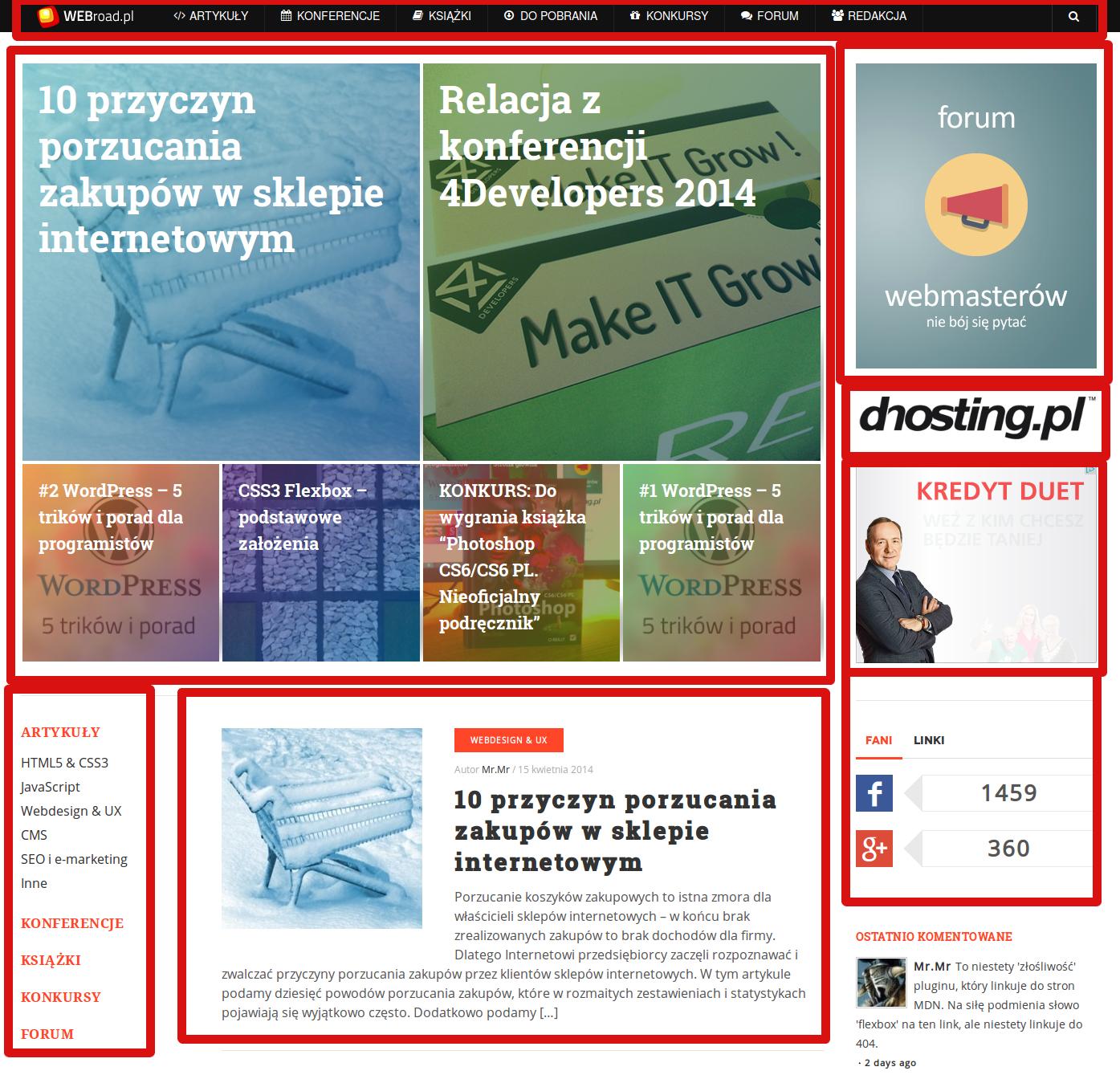 Webroad.pl - podział elementów na stronie