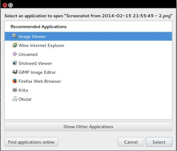 Otwórz za pomocą - screen komendy z Ubuntu