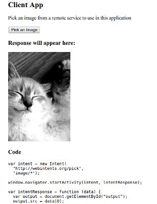 Przykład prostej aplikacji, która potrzebuje obrazka z zewnętrznej usługi