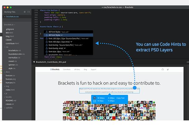Edytor kodu Brackets z funckją otwierania plików PSD i ekstrakcją stylów