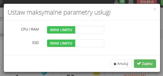 Brak limitu parametrów