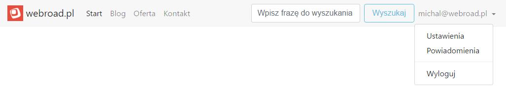 Rozwijane menu użytkownika w Bootstrapie