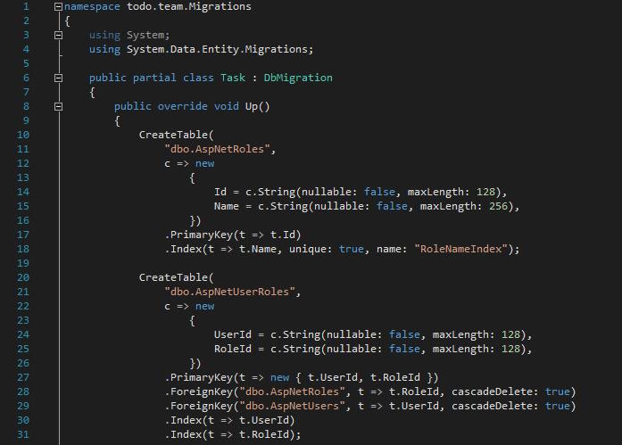 Migracja bazy w podejściu code-first ASP.NET