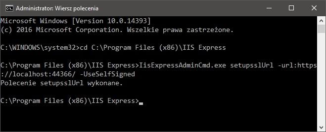 Instalacja lokalnego certyfikatu SSL w IIS Express 10