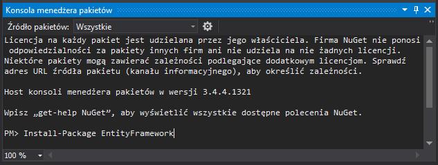 Instalacja EntityFramework za pomocą NuGet