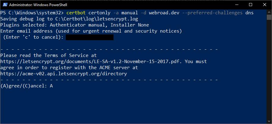 Akceptujemy warunki używania Let's Encrypt
