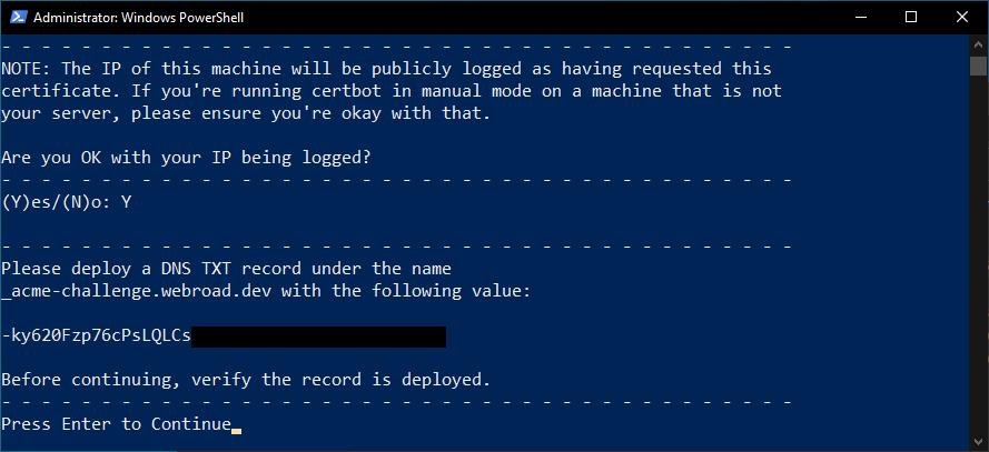Otrzymujemy klucz TXT do dodania w DNS