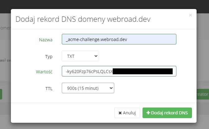 Aktualizujemy wpis DNS - przykład w dhosting.pl