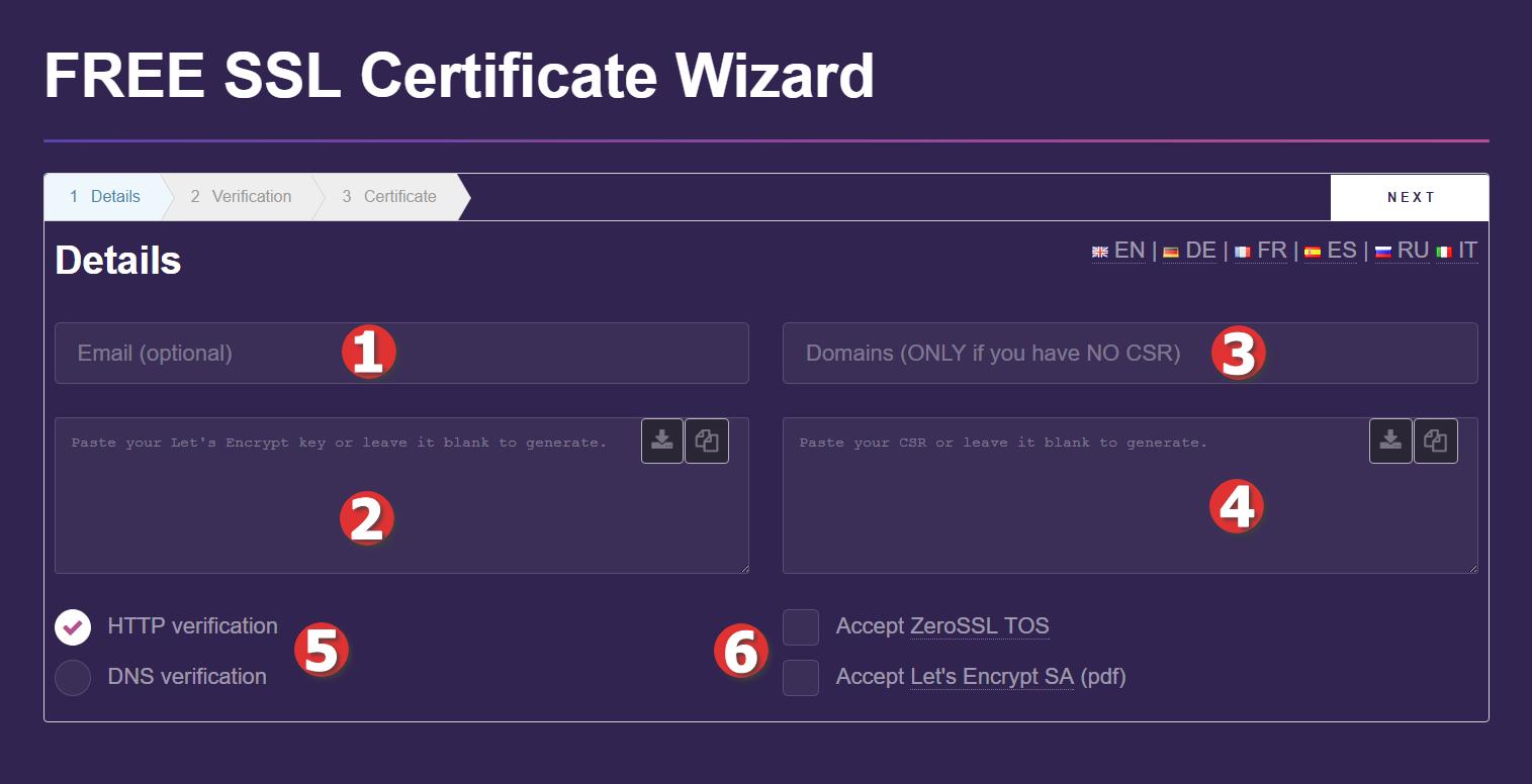 Kreator generowania certyfikatu SSL