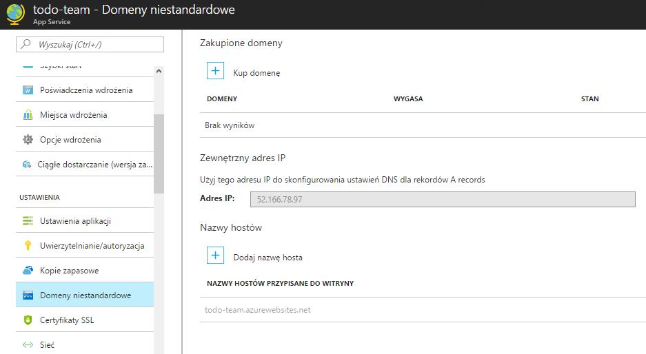 Podłączanie istniejącej domeny do Microsoft Azure