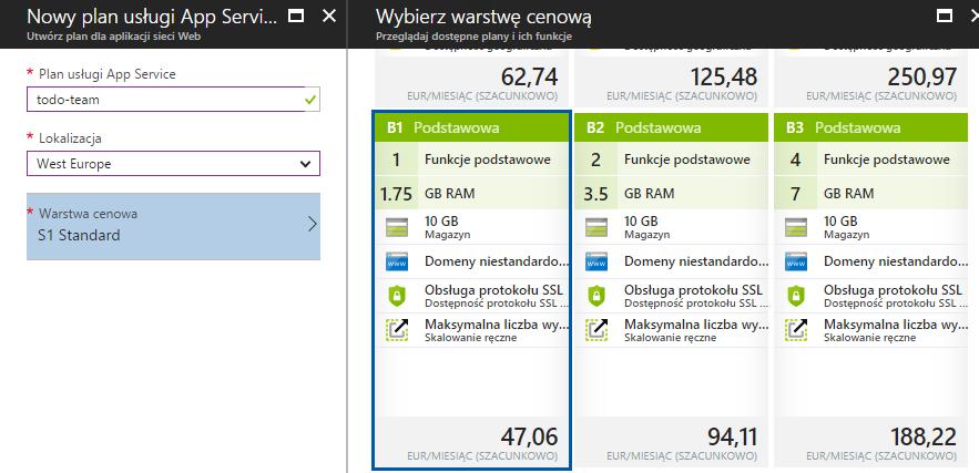 Podstawowa warstwa cenowa w Microsoft Azure