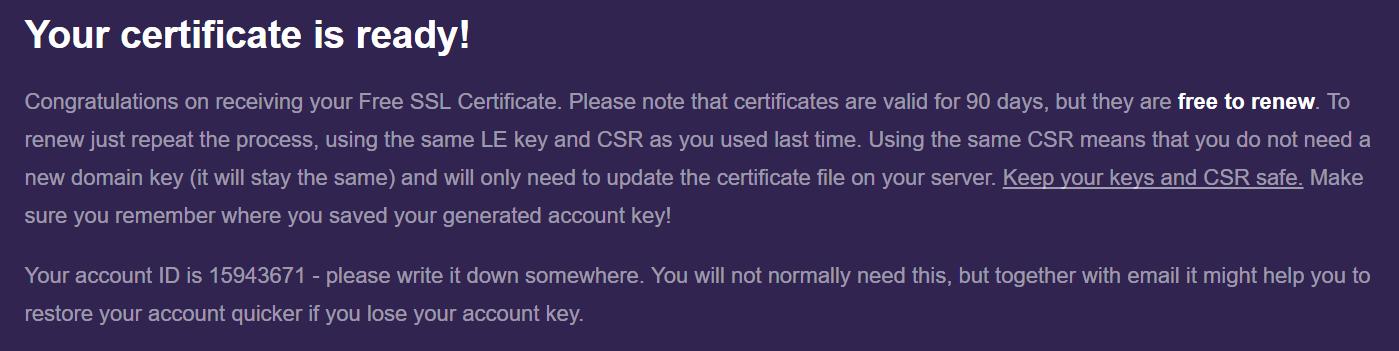 Pomyślnie wygenerowany certyfikat SSL