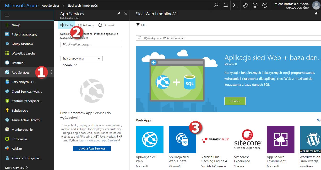 Tworzenie nowej aplikacji w Microsoft Azure