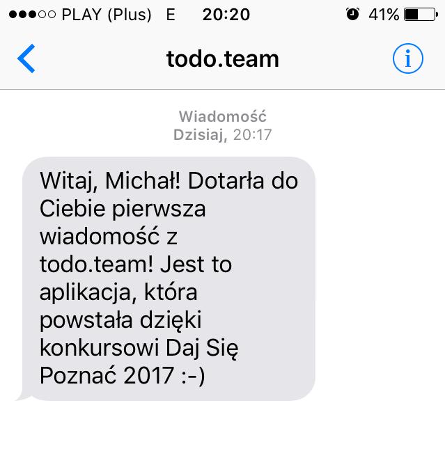 Pierwsza wiadomość SMS