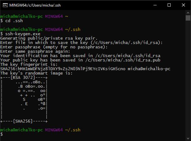 Generowanie klucza SSH w GitBash