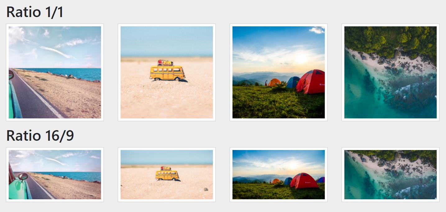 Widok galerii zdjęć względem współczynnika proporcji aspect-ratio